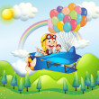 Two monkeys riding in a plane with colorful balloons — Stock Vector #22822028