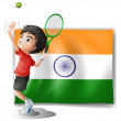 The flag of India and the tennis player — Stock Vector