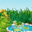 Royalty-Free Stock Vector Image: A turtle in the pond with waterlilies