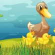 A duck and her ducklings at the riverbank — Stock Vector