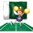 A cheerleader dancing in front of the Pakistan flag — Stock Vector