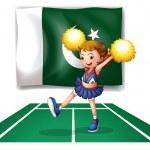 A cheerleader dancing in front of the Pakistan flag — Stock Vector