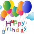 A happy birthday greeting with colorful balloons - Stockvectorbeeld