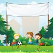 Three boys playing soccer below an empty banner - Stock Vector