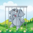 Stock Vector: Caged gray elephant