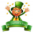 A man celebrating St. Patrick's Day with coins — Stock Vector