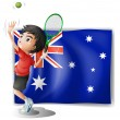 An athlete in front of the Australian flag — Stock Vector