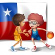 Stock Vector: The basketball players in front of the Chile flag
