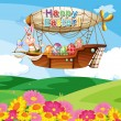An airship floating above the hills with flowers — Stock Vector