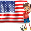 A boy with a soccer ball in front of the USA flag — Stock Vector