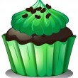 A chocolate cupcake with green toppings — Stock Vector
