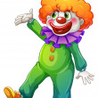 A clown wearing a green costume - Stock Vector