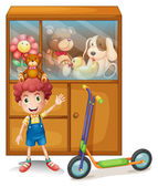 A boy and his scooter in front of his toy collections — Stock Vector