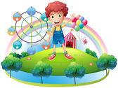 A boy near an amusement park — Stock Vector