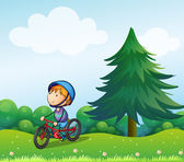 A boy with a safety helmet riding in his bike — Stock Vector
