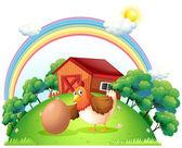 A hen and an egg near the wooden house — Stock Vector