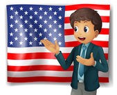 A boy presenting the USA flag — Stock Vector