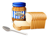 The sliced breads and a bottle of peanut butter — Stock Vector