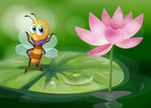 A bee above a waterlily — Stock Vector