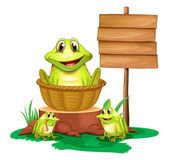 A frog inside a basket near the empty signboard — Stock Vector