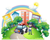 An enforcer with his car at the road — Stock Vector