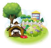 Pies w ogrodzie na wysokie budynki — Wektor stockowy