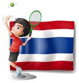 Zawodnik przed banderą tajlandii — Wektor stockowy