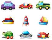 Nueve diferentes tipos de transportes de juguete — Vector de stock