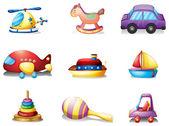 Nueve diferentes tipos de juguetes — Vector de stock