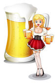 A waitress with six mug of cold beers — Stock Vector