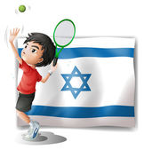 The flag of Israel and the tennis player — Stock Vector