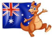 A kangaroo presenting the flag of Australia — Stock Vector