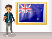 The framed flag of New Zealand with a man — Stock Vector