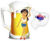 A girl with the Korean flag in front of a mug of beer — Stock Vector