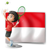 A tennis player with the Indonesian flag — Stock Vector