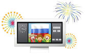 The flag of the Russian Federation and the three happy kids — Stock Vector