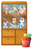 A cabinet full of toys — Stock Vector