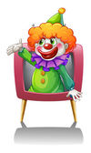 A clown inside a pink TV — Stock Vector