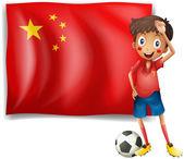 Zawodnik przed flaga chińskiej republiki ludowej — Wektor stockowy