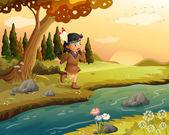 An Indian girl along the river — Stock Vector