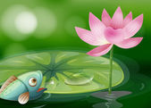 A fish with a waterlily and a flower at the pond — Stock Vector