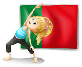 A young woman in front of the Portugal flag — Stock Vector