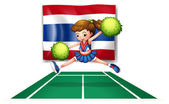 The Thailand flag with a cheerleader — Stock Vector