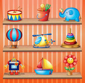 Toy collections that are properly arranged in the wooden shelves — Stock Vector