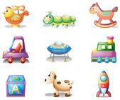 Nueve diferentes juguetes para los niños — Vector de stock