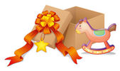 A box with a ribbon and a toy — Stock Vector