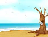 Un pájaro dentro del árbol hueco en la orilla del mar — Vector de stock