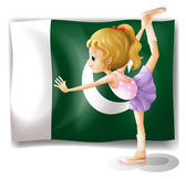 A young ballet dancer in front of the Pakistan flag — Stock Vector