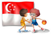 The Singaporean flag and the basketball players — Stock Vector