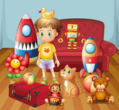 A child inside the house with his toys — Stock Vector
